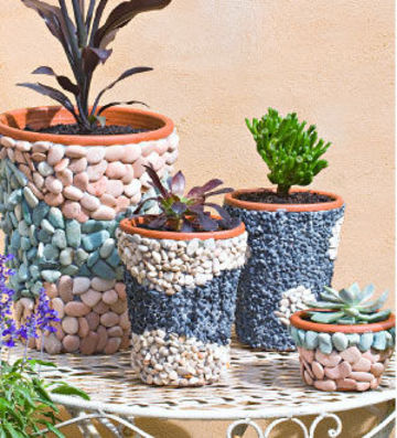 Decorar macetas con piedras ideas para jardines y decoraci n for Adornos para macetas