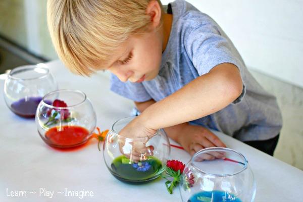 niño pintando flores
