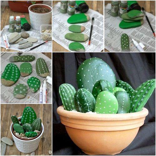decorar con piedras en forma de cactus