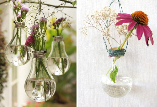 convertir bombillas en jarrones