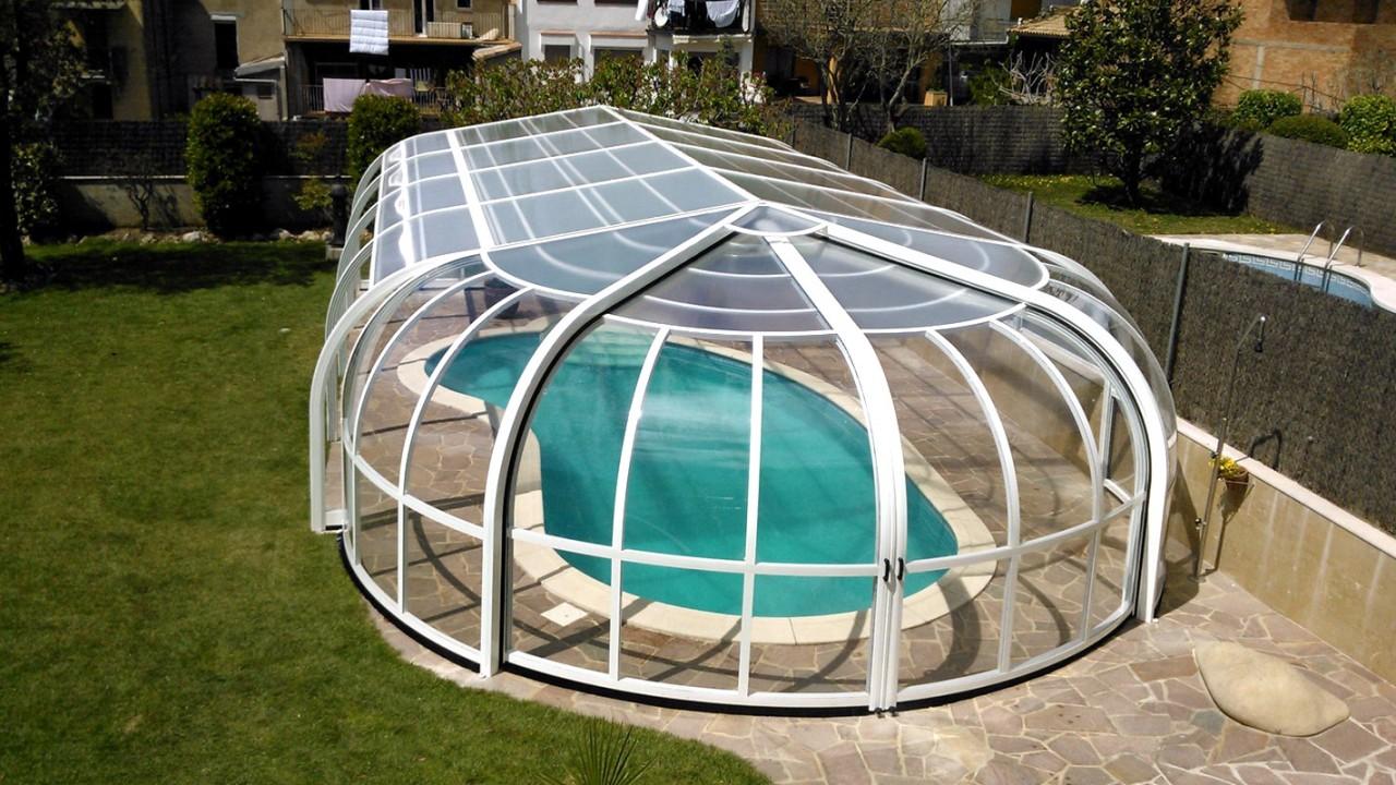 Cubierta de piscina alta y fija modelo Tabarca Rotonda de Abrisol