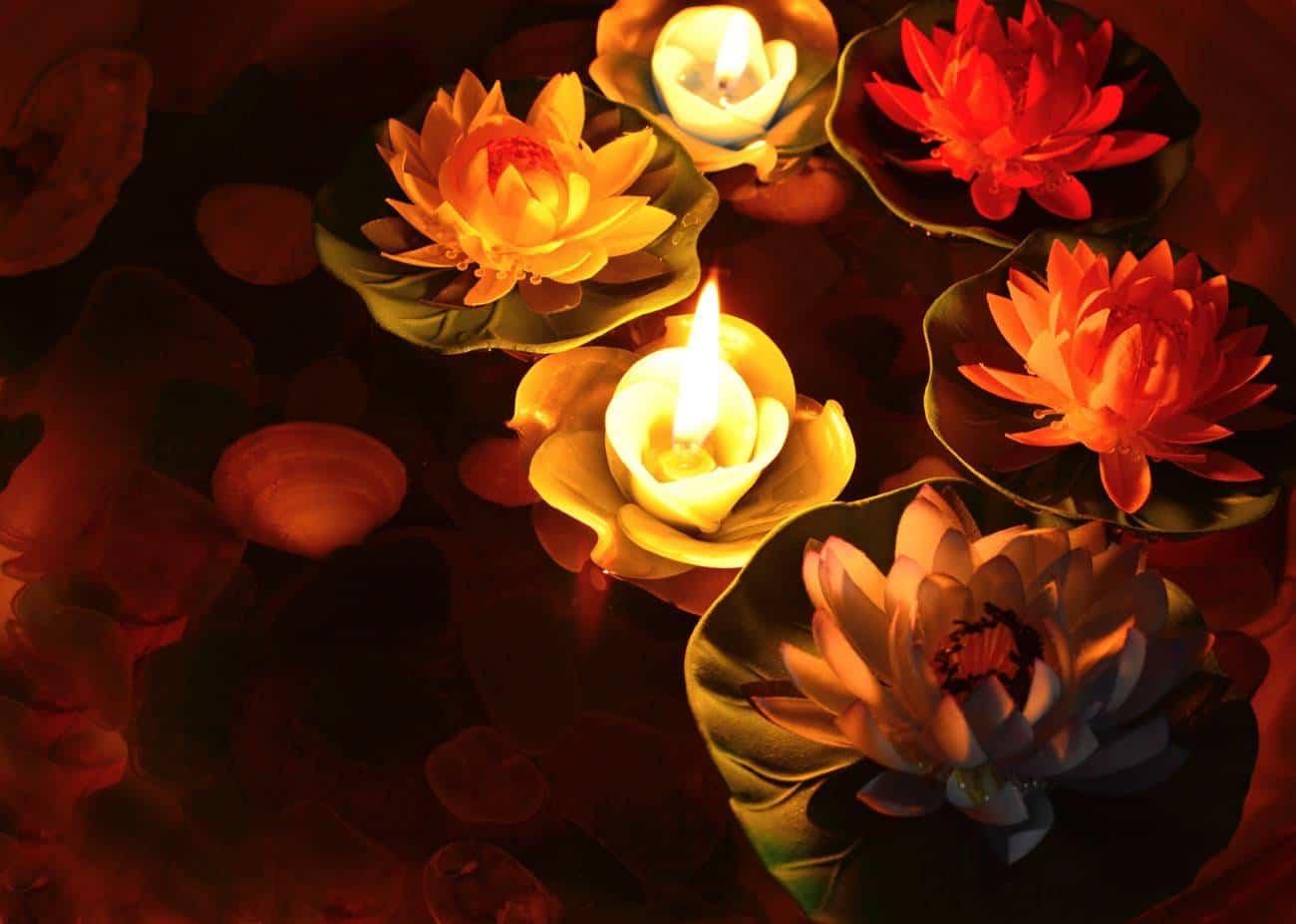 iluminacion del jardin en primavera - velas
