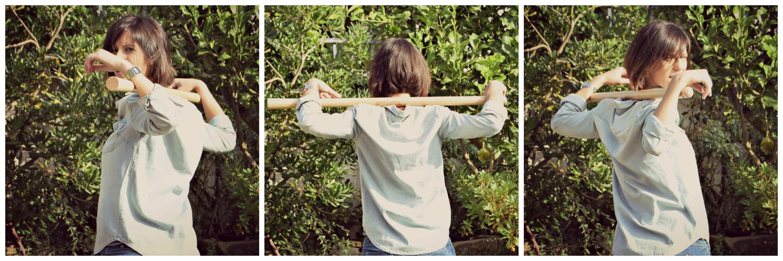 rotacion de tronco - deporte con herramientas de jardineria
