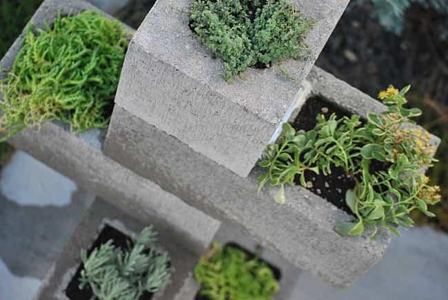 Decoración con bloques de cemento en el jardín