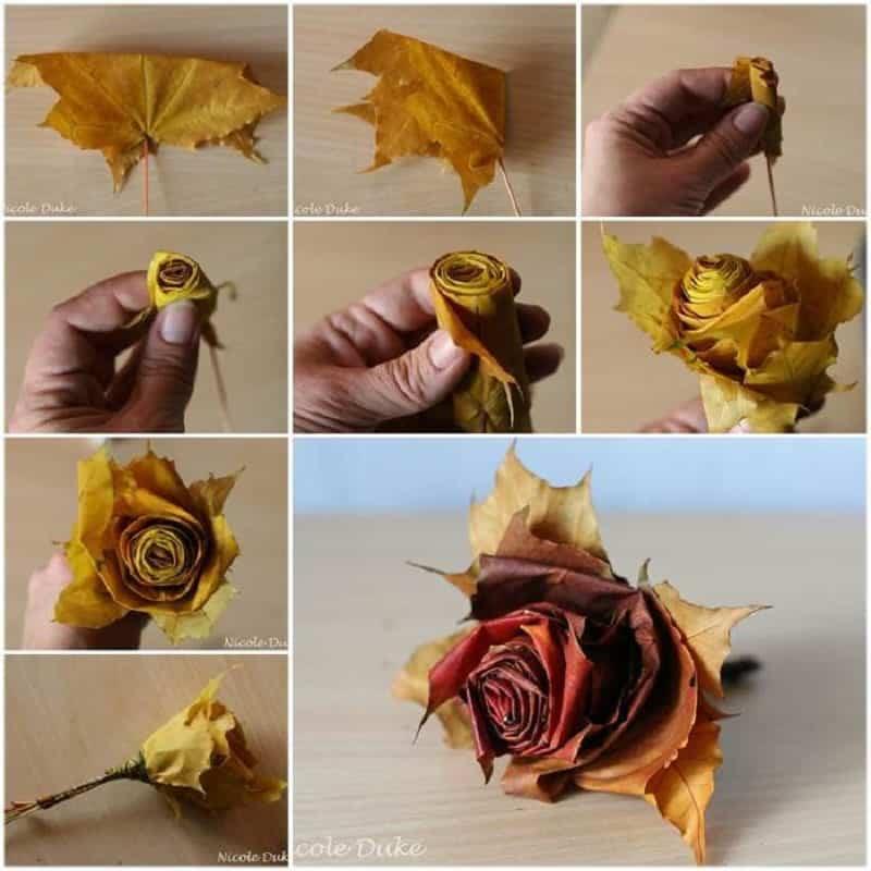 decorar con hojas naturales